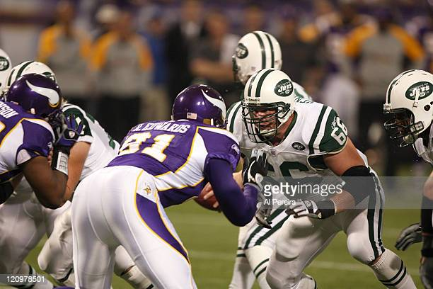 New York Jets G Pete Kendall in action during the New York Jets 2613 victory over the Minnesota VIkings at the HHH Metrodome Minneapolis Minnesota...