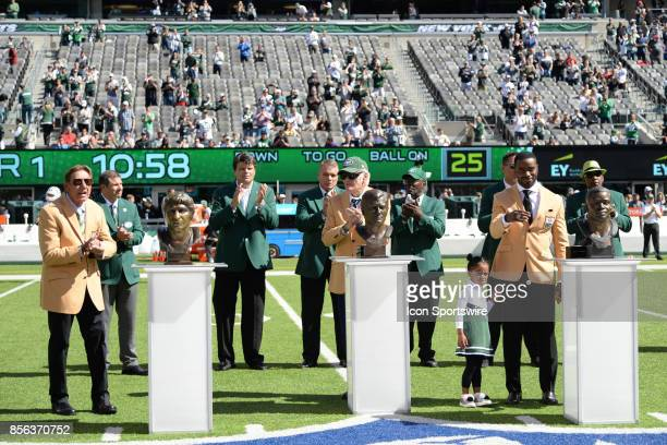 New York Jets Hall of Famer Joe Namath Don Maynard and Curtis Martin during the Hall of Fame Ring of Excellence ceremony prior to the start of the...