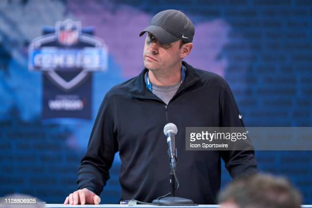New York Jets head coach Adam Gase during the NFL Scouting Combine on February 27 2019 at the Indiana Convention Center in Indianapolis IN