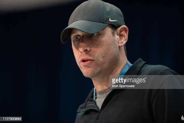 New York Jets head coach Adam Gase talks to the media during the NFL Scouting Combine on February 27 2019 at the Indiana Convention Center in...