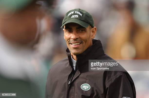 New York Jets head coach Herm Edwards during a playoff game against the Oakland Raiders on Sunday January 12 in Oakland CA