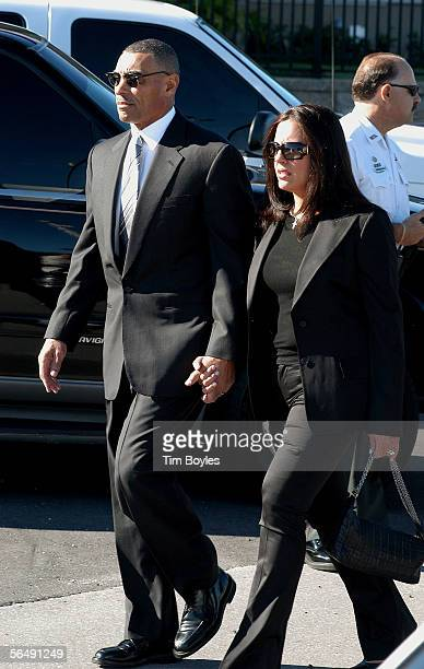 New York Jets head coach Herman Edwards and his wife Lia arrive for the funeral for James Dungy the son of Indianapolis Colts head coach Tony Dungy...