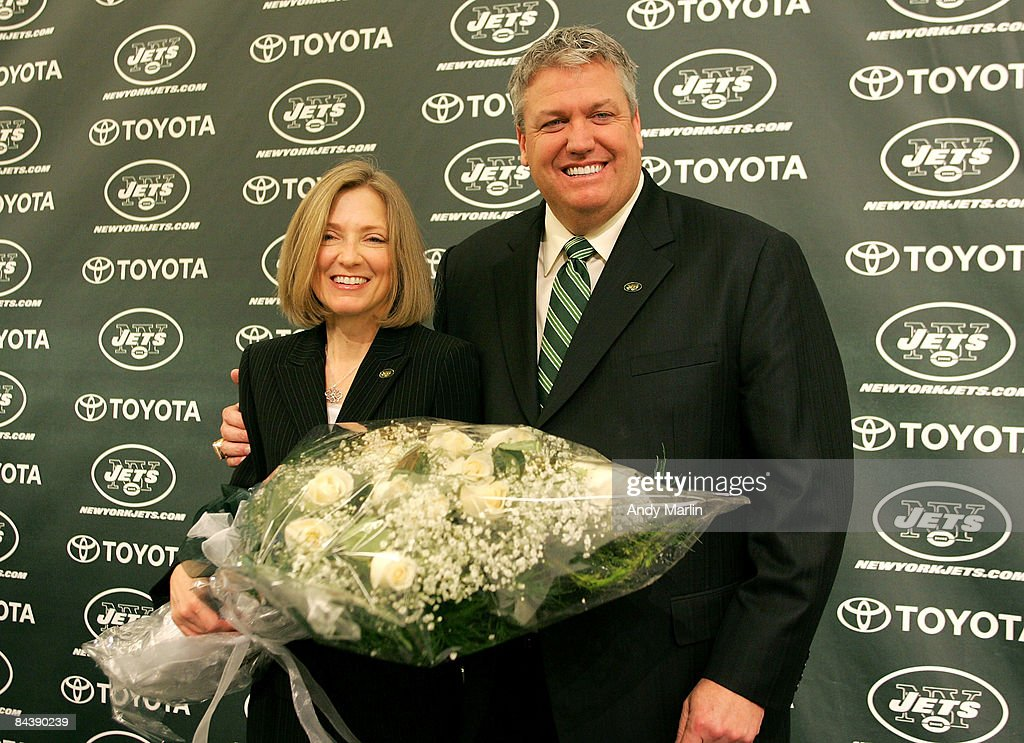 New York Jets Head Coach Rex Ryan and his wife Michelle Ryan pose for a photo during a press conference announcing Ryan as the new Head Coach of the New York Jets at the Atlantic Health Jets Training Center on January 21, 2009 in Florham Park, New Jersey.
