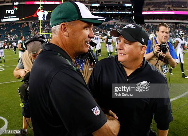 New York Jets head coach Rex Ryan shakes the hand of head coach Chip Kelly of the Philadelphia Eagles at the end of the preseason game on August 28...