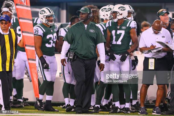 New York Jets head coach Todd Bowles during the Preseason National Football League game between the New York Jets and the Tennessee Titans on August...