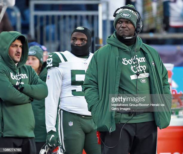 New York Jets head coach Todd Bowles during the third quarter of the NFL game against the New England Patriots at Gillette Stadium on December 30...