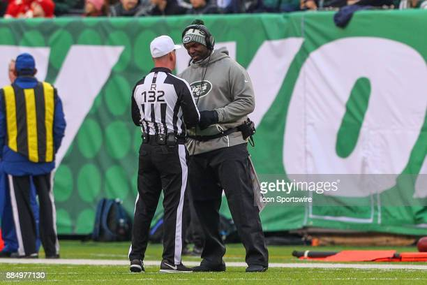 New York Jets head coach Todd Bowles talks with referee John Parry during the National Football League game between the New York Jets and the Kansas...