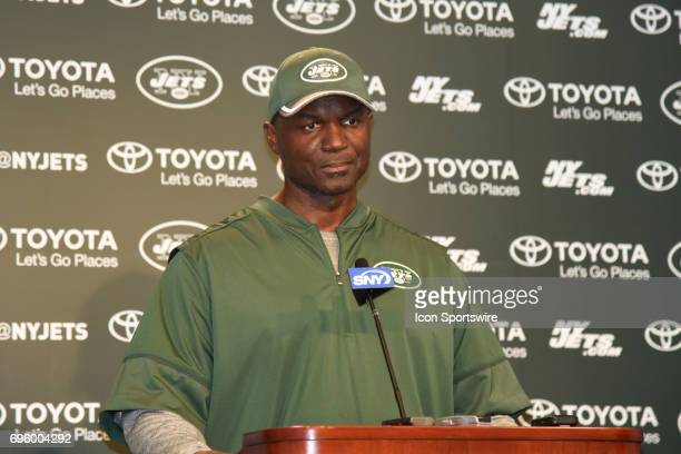 New York Jets head coach Todd Bowles talks with reporters after the NY Jets minicamp on June 13 2017 held at Atlantic Health Training Center in...