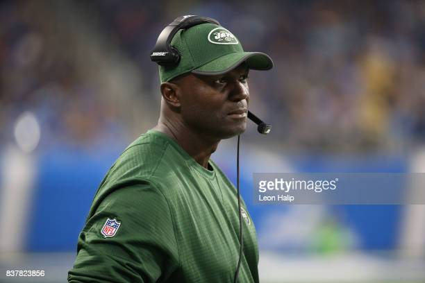 New York Jets head coach Todd Bowles watches the preseason action against the Detroit Lions on August 19 2017 at Ford Field in Detroit Michigan The...