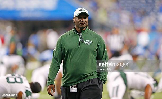 New York Jets head football coach Todd Bowles watches the warms ups prior to the start of the preseason game against the Detroit Lions on August 13...