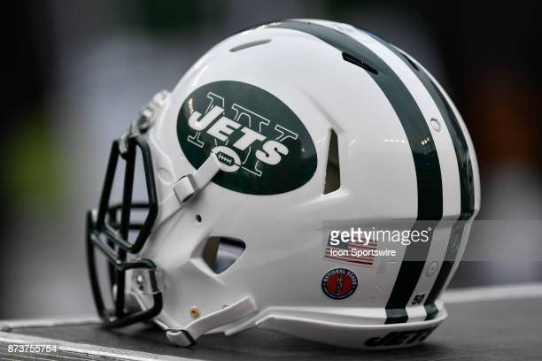 New York Jets helmet during the first half of an NFL game between the New York Jets and the Tampa Bay Buccaneers on November 12 at Raymond James...