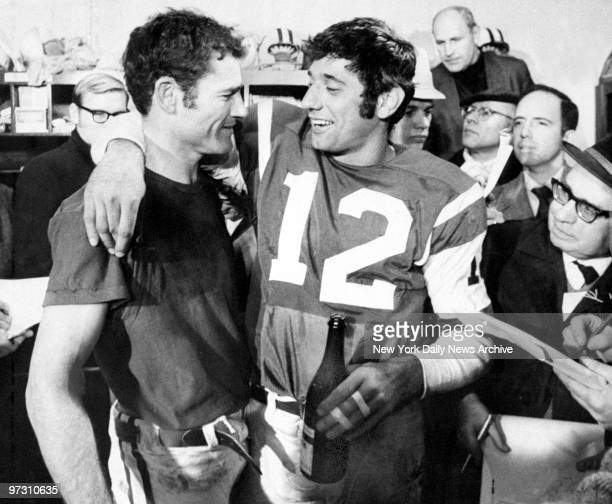 New York Jets' Joe Namath and Don Maynard are surrounded by reporters after winning the AFL Championship 2723 over the Oakland Raiders
