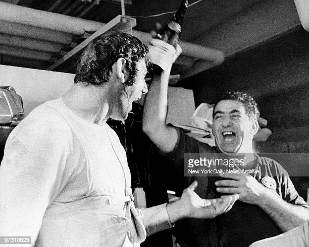 New York Jets' Joe Namath joins celebration in locker room after win over the oakland Raiders at Shea Stadium.
