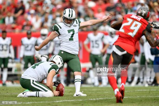 New York Jets kicker Chandler Catanzaro kicks a field goal during the first half of an NFL game between the New York Jets and the Tampa Bay...