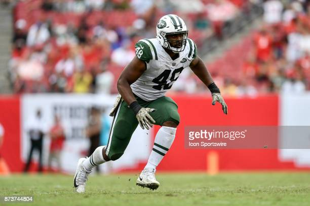 New York Jets linebacker Jordan Jenkins during the second half of an NFL game between the New York Jets and the Tampa Bay Buccaneers on November 12...