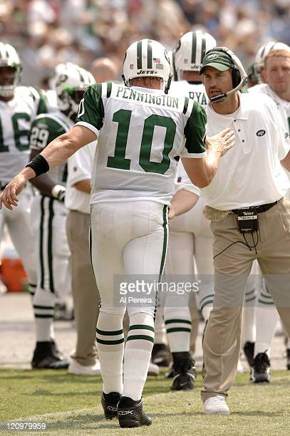 New York Jets Offensive Coordinator Brian Schottenheimer and QB Chad Pennington during the game against the Tennessee Titans at LP Field in Nashville...