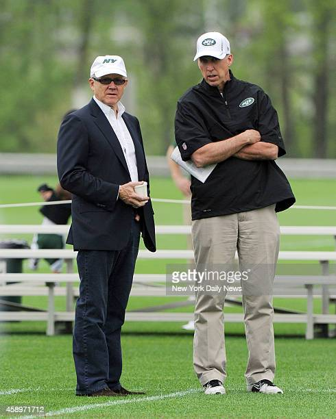 New York Jets owner Woody Johnson and New York Jets general manager John Idzik at New York Jets practiced Saturday May 11 2013 at their training...