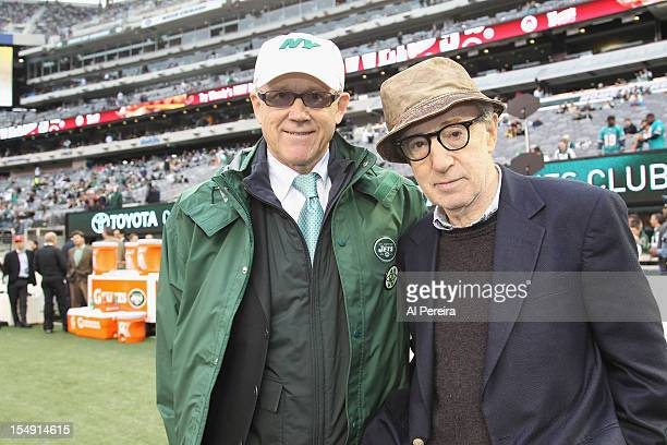 New York Jets owner Woody Johnson and Woody Allen attend the Miami Dolphins vs New York Jets game at MetLife Stadium on October 28 2012 in East...