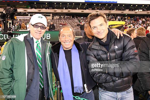 New York Jets owner Woody Johnson singer/composer Paul Anka and actor Jason Bateman attend the Cincinnati Bengals Vs New York Jets game at the New...