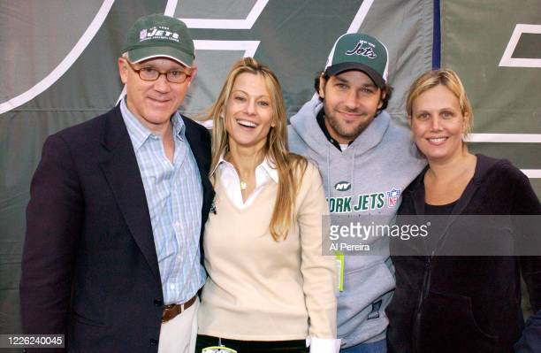 New York Jets owner Woody Johnson, Suzanne Johnson, Julie Yaeger and Paul Rudd attend the New York Jets vs Buffalo Bills game at The Meadowlands on...