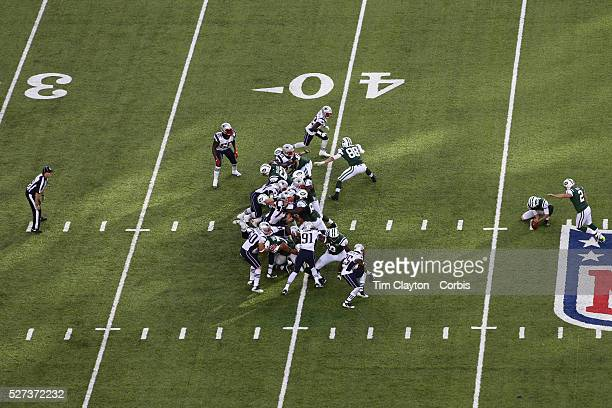 New York Jets place kicker Nick Folk missing on a 56 yard overtime field goal attempt which resulted in a 15 yard penalty on New England Patriots...