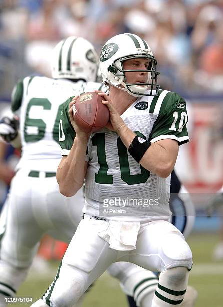 New York Jets QB Chad Pennington in action during the Jets' 2316 win over the Titans at LP Field Nashville Tennessee Spetember 10 2006