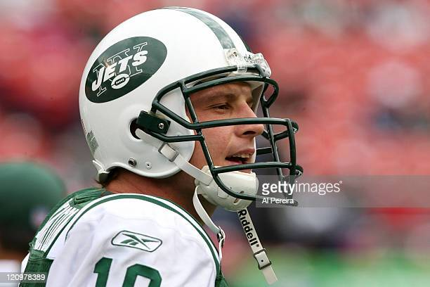 New York Jets QB Chad Pennington in action during the Jets' 3124 win over the Detroit Lions at the Meadowlands East Rutherford New Jersey October 22...