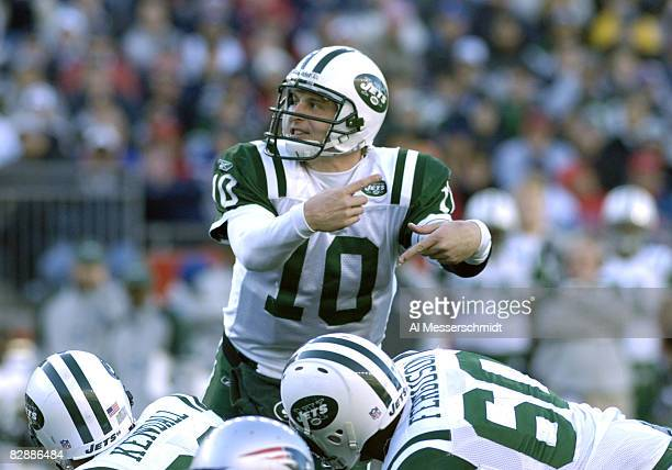 New York Jets quarterback Chad Pennington calls a play against the New England Patriots in an NFL wild card playoff game Jan 7 2007 in Foxborough...