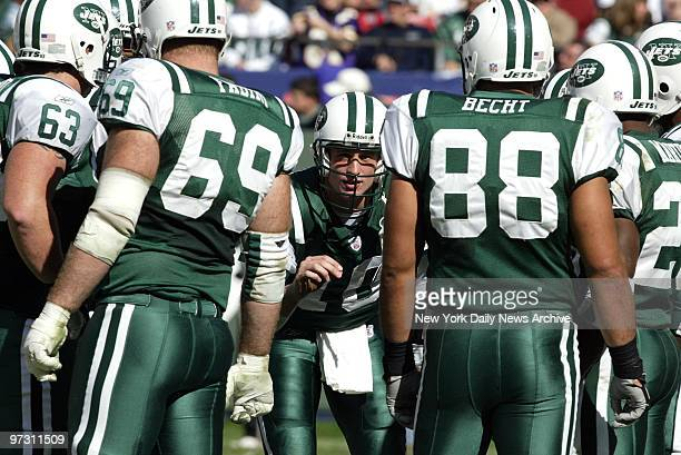 New York Jets' quarterback Chad Pennington has his say in huddle during action against the Minnesota Vikings at Giants Stadium The Jets went on to...