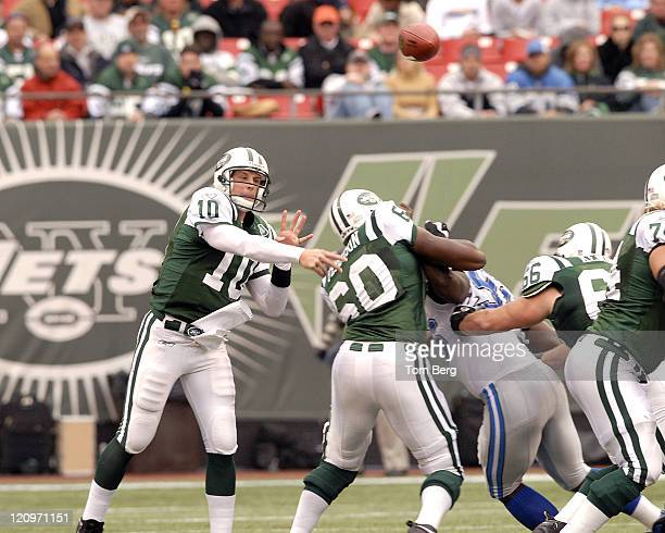 New York Jets quarterback Chad Pennington passing under pressure during the Detroit Lions vs New York Jets game on October 22 2006 The Meadowlands...