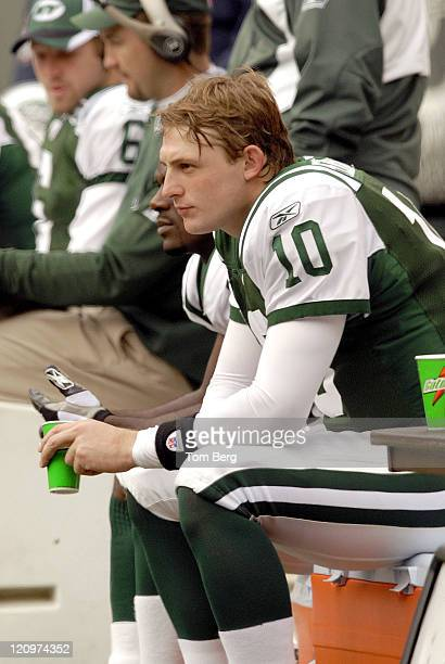 New York Jets Quarterback Chad Pennington sitting on the bench during the Detroit Lions vs New York Jets game on October 22 2006 The Meadowlands East...