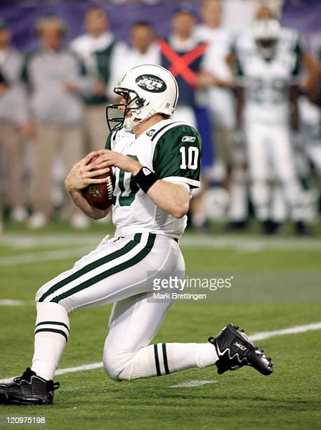 New York Jets quarterback Chad Pennington slides for yardage during a game against the Minnesota Vikings on December 172006 in the Metrodome in...