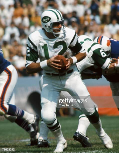 New York Jets quarterback Joe Namath drops back to pass in a 3319 win over the Buffalo Bills on September 14 1969 at War Memorial Stadium in Buffalo...