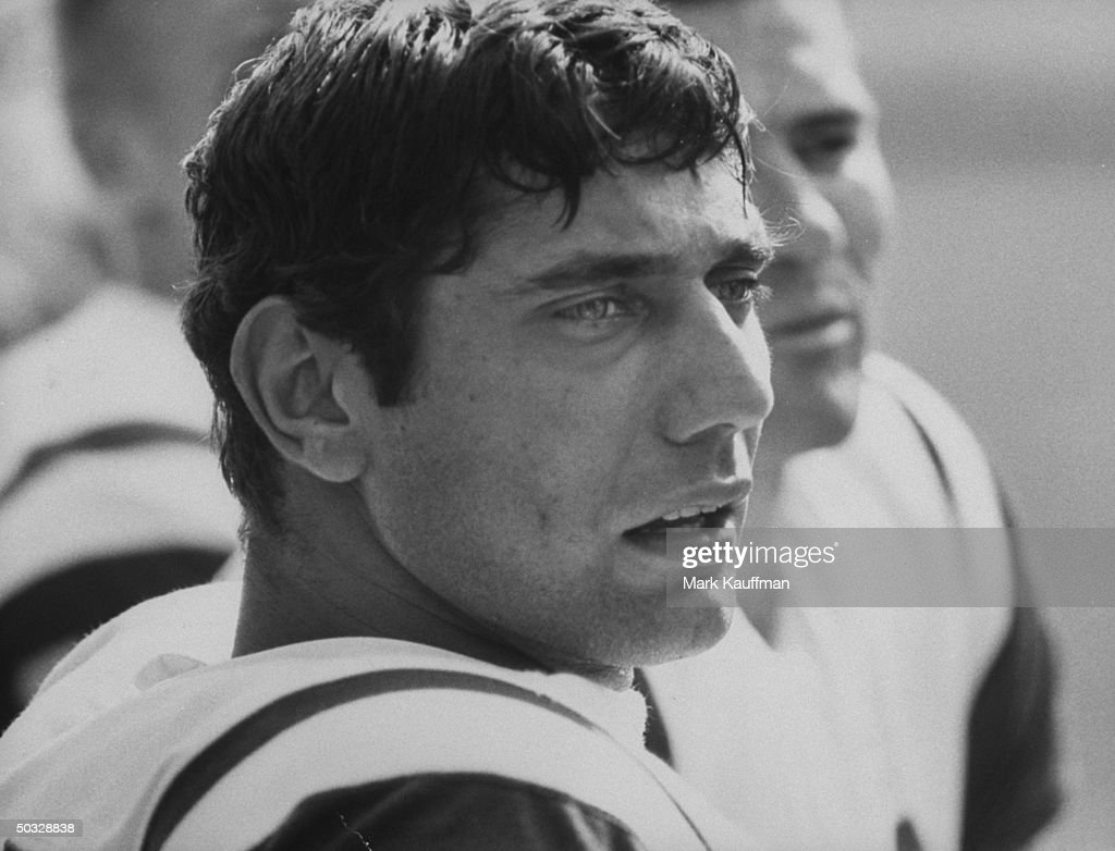 New York Jets quarterback Joe Namath looking on during a game against the Houston Oilers.