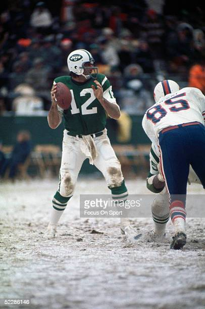 New York Jets' quarterback Joe Namath looks to pass during a game against the Buffalo Bills