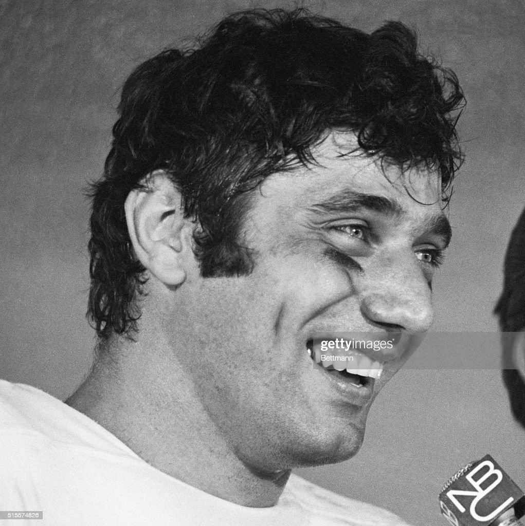 New York Jets Quarterback Joe Namath smiles while talking to the press after his team's win in Super Bowl III. Namath was named the game's most valuable player.