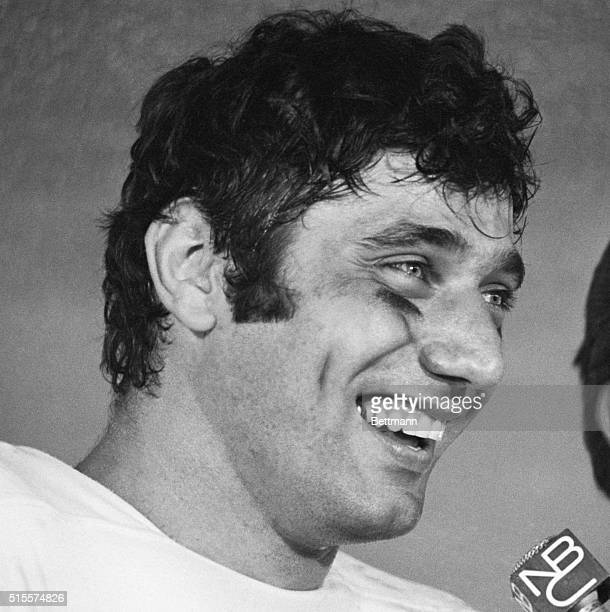 New York Jets Quarterback Joe Namath smiles while talking to the press after his team's win in Super Bowl III Namath was named the game's most...