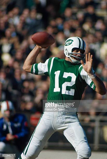 New York Jets' quarterback Joe Namath throws a pass during a circa 1960's game
