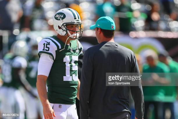 New York Jets quarterback Josh McCown and Miami Dolphins head coach Adam Gase prior to the National Football League game between the New York Jets...