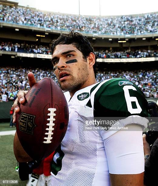 New York Jets' quarterback Mark Sanchez after game against New England Patriots. Jets won, 16-9.