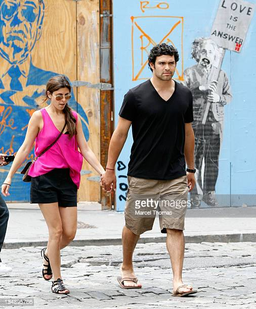 New York Jets' quarterback Mark Sanchez and actress JamieLynn Sigler sighting in the MeatPacking district on June 13 2010 in New York New York
