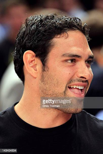 New York Jets quarterback Mark Sanchez attends the game between the New York Knicks and Los Angeles Clippers at Madison Square Garden on April 25...