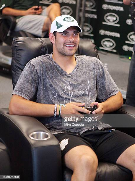 New York Jets quarterback Mark Sanchez attends the playing of Halo Reach on XBOX 360 at the NY Jets Practice Facility on September 3 2010 in Florham...