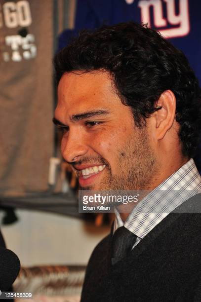 New York Jets quarterback Mark Sanchez attends VS PINK National Football League collection launch at Victoria's Secret SoHo on November 1 2010 in New...