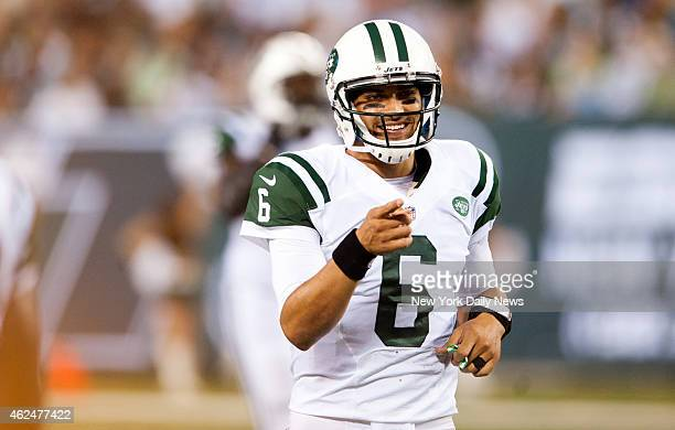New York Jets quarterback Mark Sanchez in the second quarter in the preseason game against the Carolina Panthers at MetLife Stadium
