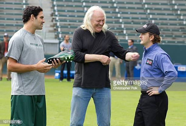 New York Jets quarterback Mark Sanchez shoots a scene with the Pepsi MAX driver on the set of the new zero calorie Pepsi MAX NFL commercial at The...