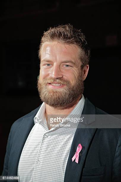 New York Jets quaterback Ryan Fitzpatrick poses outside during The Pink Agenda 2016 Gala arrivals at Three Sixty on October 13 2016 in New York City