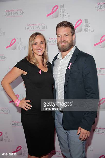 New York Jets Quaterback Ryan Fitzpatrick poses with his wife Liza Barber on the pink carpet during The Pink Agenda 2016 Gala arrivals at Three Sixty...