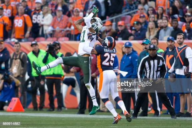 New York Jets receiver Robby Anderson catches the ball during the New York Jets vs Denver Broncos football game at Sports Authority Field in Denver...