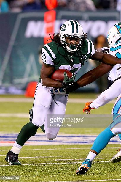 New York Jets running back Chris Ivory during the second quarter of the Monday Night Football game between the New York Jets and the Miami Dolphins...